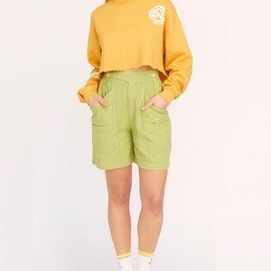 FREE PEOPLE Aloha Linen Shorts 2 Green High Rise